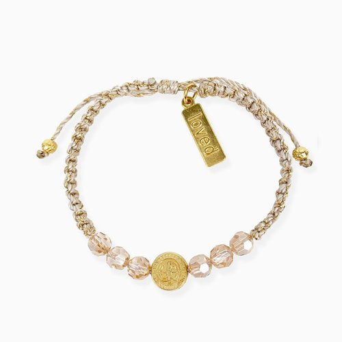 MY SAINT MY HERO A Mother's Love Blessing for My Child Bracelet in Gold- Metallic Gold- Golden