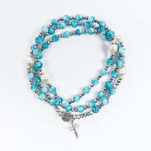 MY SAINT MY HERO Miracles Rosary Wrap Bracelet - Blue Hematite/ Pearl