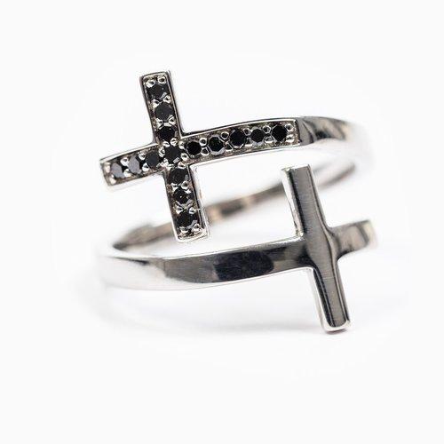 MY SAINT MY HERO Pillar Of faith Ring - Adjustable Size - Sterling Silver/Black Diamond 0.14cts