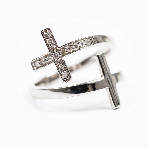 MY SAINT MY HERO Pillar Of Faith Ring - Adjustable Size - Sterling Silver/ Diamond 0.14cts