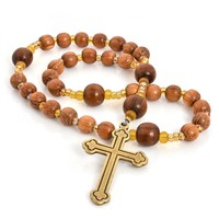 ANGLICAN ROSARY BAYONG WOOD  with TREFOIL CROSS by FULL CIRCLE BEADS