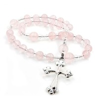 ANGLICAN ROSARY ROSE QUARTZ with TREFOIL CROSS by FULL CIRCLE BEADS