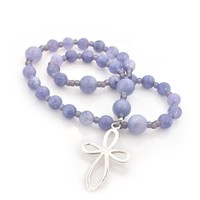 ANGLICAN ROSARY TANZANITE with INFINITY LOOP STERLING CROSS by FULL CIRCLE BEADS