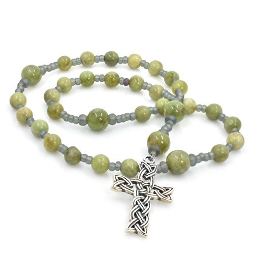 ANGLICAN ROSARY GREEN GARNET with  CELTIC KNOT CROSS