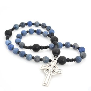 ANGLICAN ROSARY DUMORTIERITE & FROSTED ONYX with CELTIC CROSS