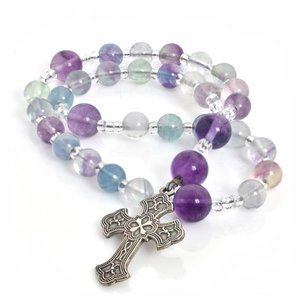 ANGLICAN ROSARY FLUORITE with FLEURI CROSS  by FULL CIRCLE BEADS