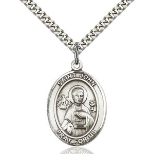 Bliss St. John the Apostle Pendant - Oval, Large, Sterling Silver