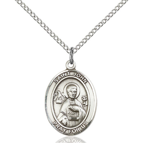 Bliss St. John the Apostle Pendant - Oval, Medium, Sterling Silver