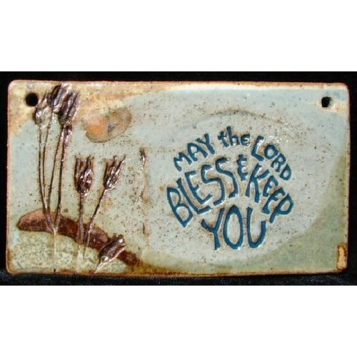 'MAY THE LORD BLESS & KEEP YOU' SMALL WALL PLAQUE BY SARA RUBIN POTTERY