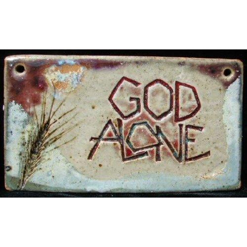 'GOD ALONE'  MEDIUM RECTANGLE WALL PLAQUE BY SARA RUBIN POTTERY