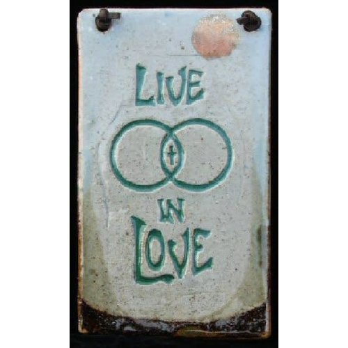 'LIVE IN LOVE' MEDIUM RECTANGLE WALL PLAQUE BY SARA RUBIN POTTERY
