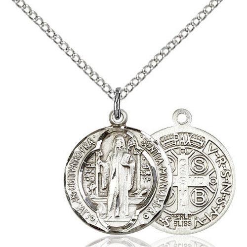 Bliss St. Benedict Pendant - Round, Medium, Sterling Silver