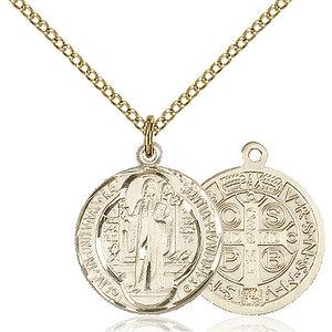 Bliss St. Benedict Pendant - Round, Medium, 14kt Gold Filled