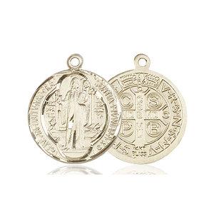 Bliss St. Benedict Medal - Round, Medium, 14kt Gold
