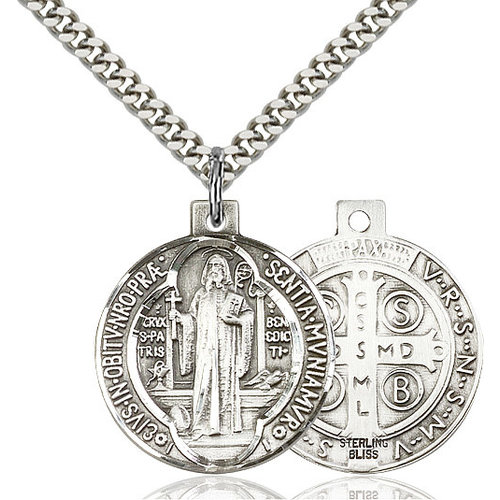 Bliss St. Benedict Pendant - Round, Large, Sterling Silver