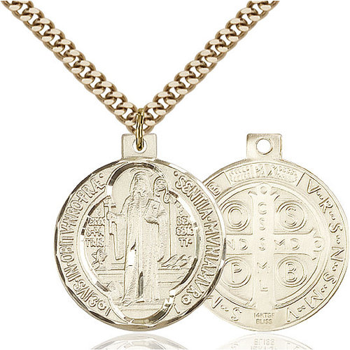 Bliss St. Benedict Pendant - Round, Large, 14kt Gold Filled