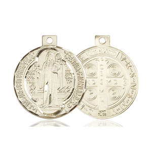 Bliss St. Benedict Medal - Round, Large, 14kt Gold