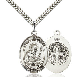 Bliss St. Benedict Pendant - Oval, Large, Sterling Silver