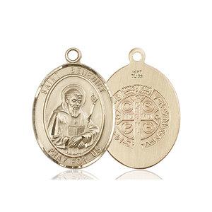 Bliss St. Benedict Medal - Oval, Large, 14kt Gold