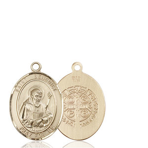 Bliss St. Benedict Medal - Oval, Medium, 14kt Gold