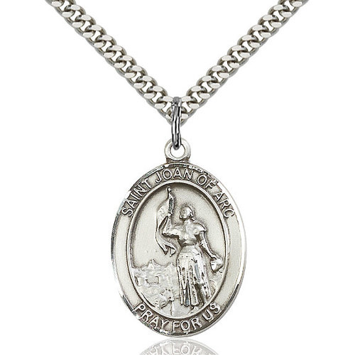 Bliss St. Joan of Arc Pendant - Oval, Large, Sterling Silver