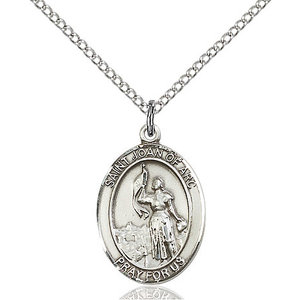 Bliss St. Joan of Arc Pendant - Oval, Medium, Sterling Silver