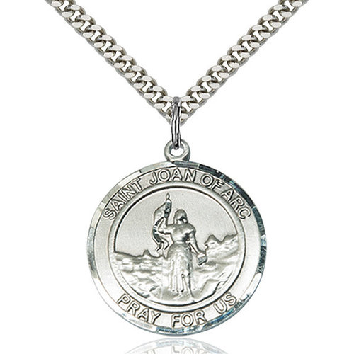 Bliss St. Joan of Arc Pendant - Round, Large, Sterling Silver