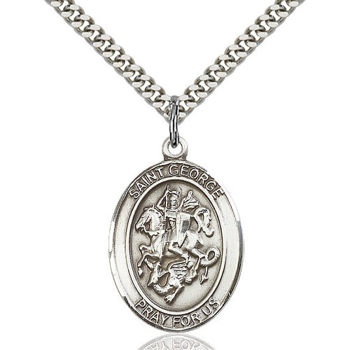 Bliss St. George Pendant - Oval, Large, Sterling Silver