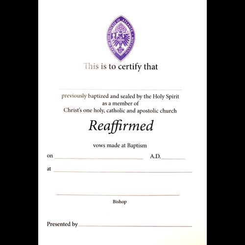 Certificate: Reaffirmation - Episcopal Diocese of Atlanta