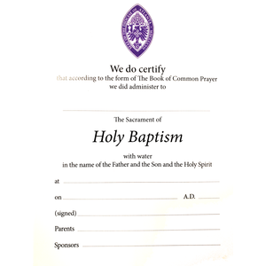 CERTIFICATE: BAPTISM- EPISCOPAL DIOCESE OF ATLANTA