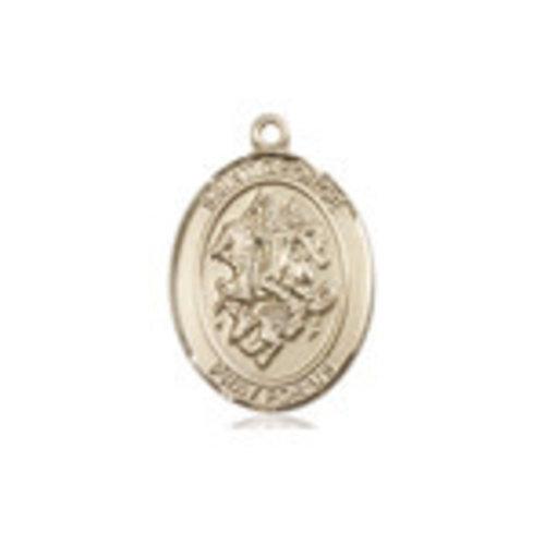 Bliss St. George Medal - Oval, Medium, 14kt Gold