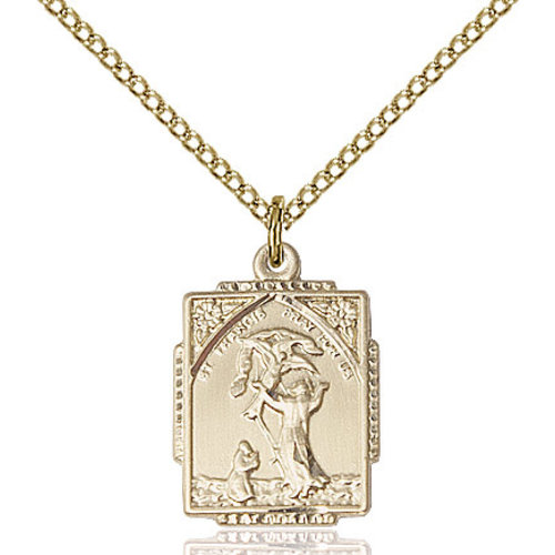 Bliss St. Francis of Assisi Pendant- Square, 14kt Gold Filled