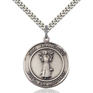 Bliss San Francis of Assisi Pendant - Round, Large, Sterling Silver