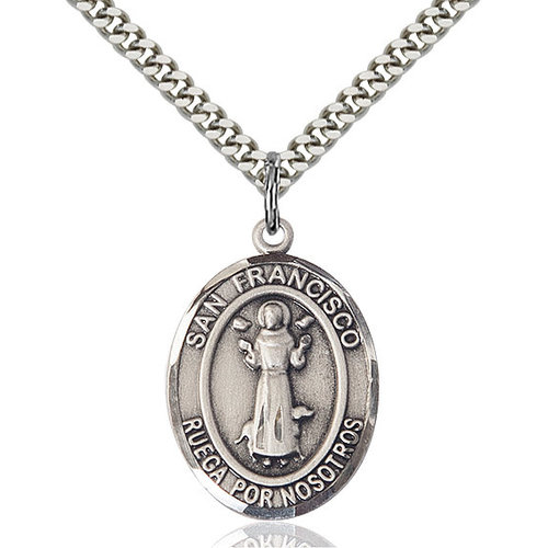 Bliss San Francis Pendant - Oval, Large, Sterling Silver