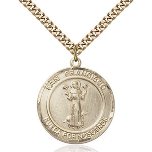 Bliss San Francis of Assisi Pendant - Round, Large, 14kt Gold Filled