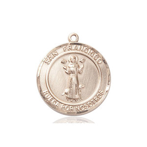 Bliss San Francis of Assisi Medal - Round, Large, 14kt Gold