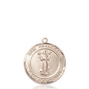 Bliss San Francis Medal - Round, Medium, 14kt Gold