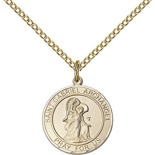 Bliss St. Gabriel the Archangel Pendant - Round, Medium, 14kt Gold Filled