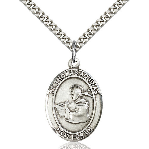 Bliss St. Thomas Aquinas Pendant - Oval, Large, Sterling Silver