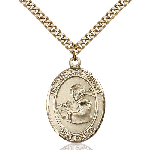 Bliss St. Thomas Aquinas Pendant- Oval, Large, 14kt Gold Filled
