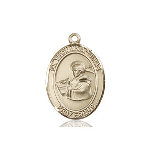 Bliss St. Thomas Aquinas Medal- Oval, Large, 14kt Gold
