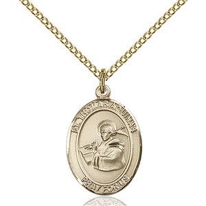 Bliss St. Thomas Aquinas Pendant - Oval, Medium, 14kt Gold Filled