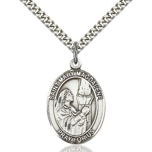 Bliss St. Mary Magdalene Pendant - Oval, Large, Sterling Silver