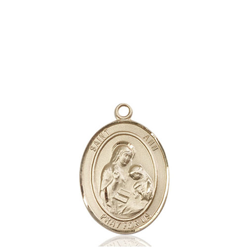 Bliss St. Ann Medal - Oval, Medium, 14kt Gold