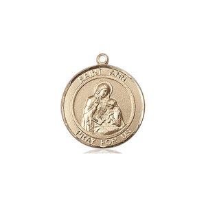 Bliss St. Ann Medal - Round, Medium, 14kt Gold