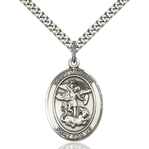 Bliss St. Michael the Archangel Pendant - Oval, Large, Sterling Silver