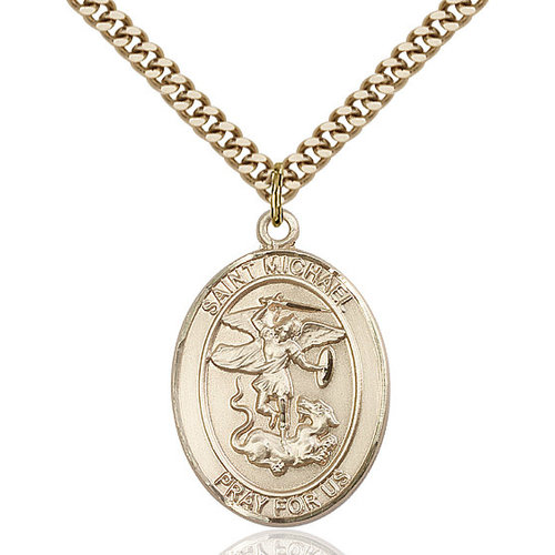 Bliss St. Michael the Archangel Pendant - Oval, Large, 14kt Gold Filled