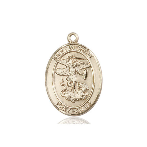 Bliss St. Michael the Archangel Medal - Oval, Large, 14kt Gold