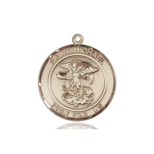 Bliss St. Michael the Archangel Medal - Round, Large, 14kt Gold
