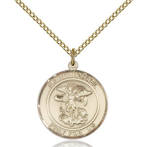 Bliss St. Michael the Archangel Pendant - Round, Medium, 14kt Gold Filled